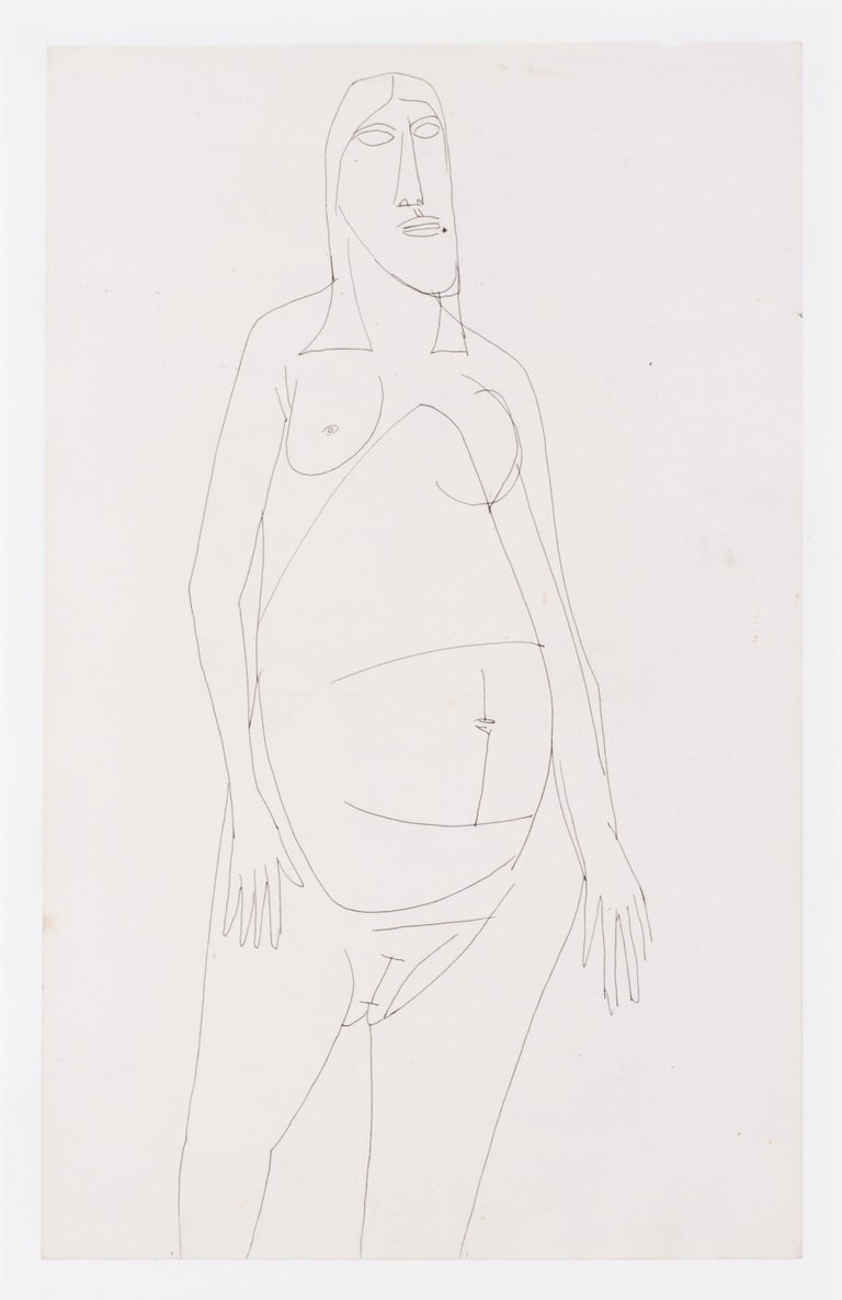 A 20th Century abstract drawing of a nude by Indian artist F. N. Souza For Sale 1