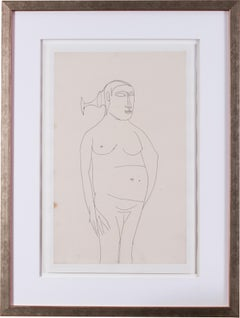 A 20th Century drawing of a nude by Indian artist Francis Newton Souza
