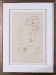 A 20th Century abstract drawing of lovers by Indian artist F. N. Souza