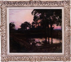 A French 19th Century oil painting of a Sunset before a pagoda