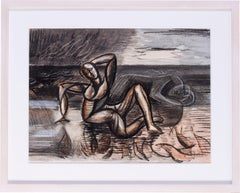 A mid 20th Century British abstracted drawing of a figure by Leon Underwood