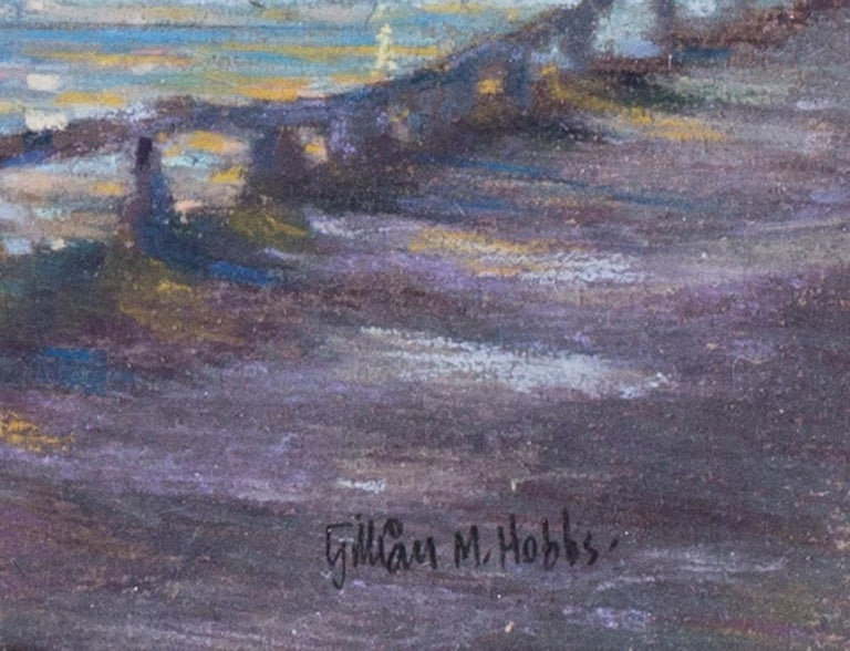 Padstow from Rock, Cornwall, at Dusk - Impressionist Art by Gillian M Hobbs