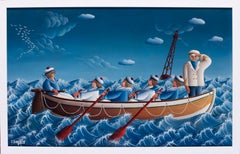 A 20th Century French oil painting of sailors on a boat, blue by Dejoie