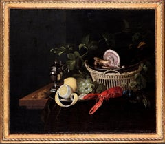 A Flemish Old Master still life oil painting of a lobster after Van Son