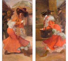 Pair of French Belle Epoque 19th Century oil paintings of ladies in orange