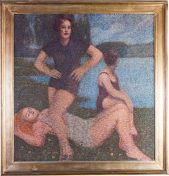 A large, Italian early 20th Century pointillist oil painting of three bathers