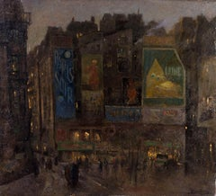A large early 20th Century oil painting of the Paris night time scene