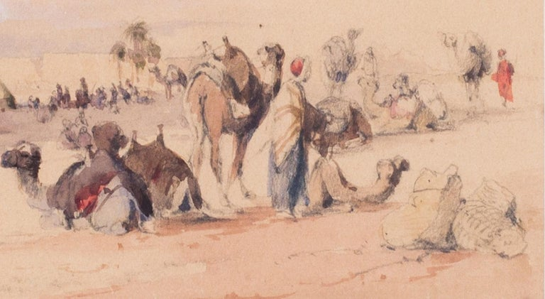 Mid 19th Century British watercolour of the Nile in Karnac, Luxor, Egypt - Academic Art by Circle of Edward Lear