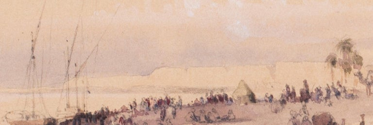 Mid 19th Century British watercolour of the Nile in Karnac, Luxor, Egypt - White Figurative Art by Circle of Edward Lear