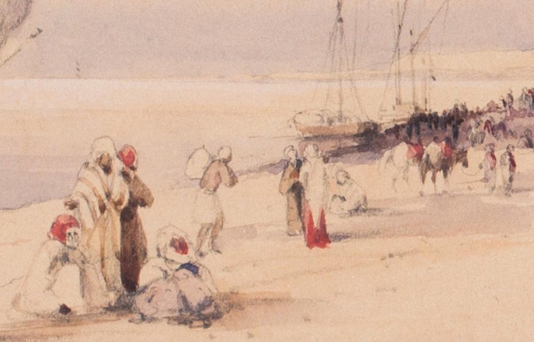 •Circle of Edward Lear (British, 1812 – 1888) Traders on the nile at Karnac Inscribed and dated 'Kanek.Nile.1847' Pencil and watercolour on paper 7.1/4 x 11.3/8 in. (18.4 x 29 cm.)  This very delicate and detailed study shows life on the Nile in
