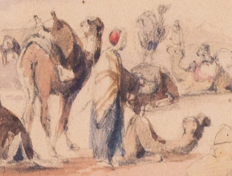 Mid 19th Century British watercolour of the Nile in Karnac, Luxor, Egypt For Sale 1