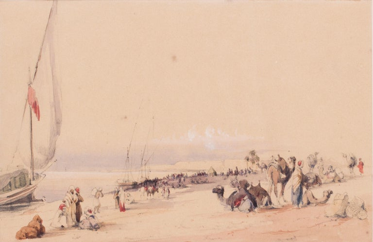 Mid 19th Century British watercolour of the Nile in Karnac, Luxor, Egypt - Art by Circle of Edward Lear