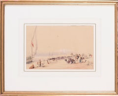 Mid 19th Century British watercolour of the Nile in Karnac, Luxor, Egypt