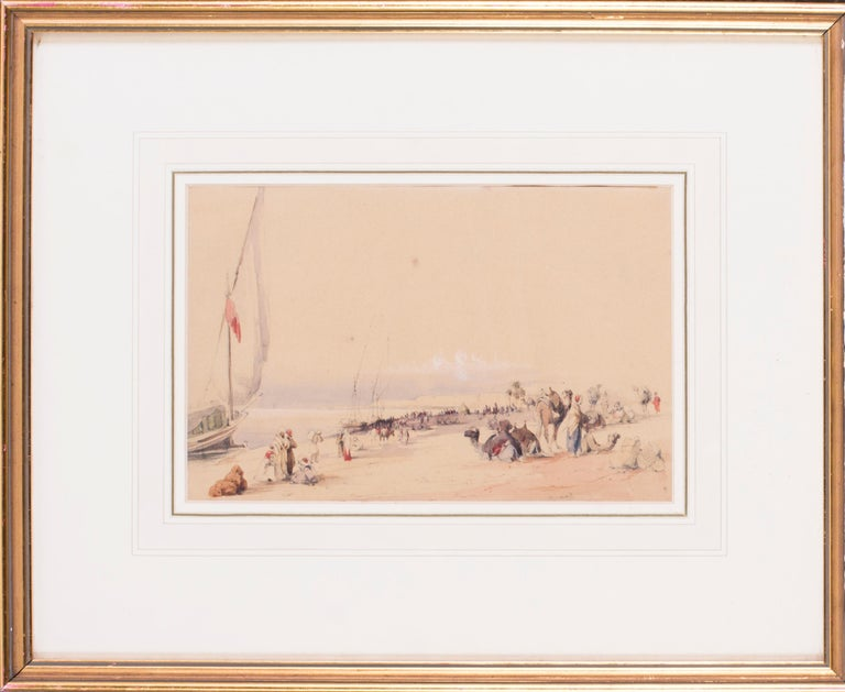 Circle of Edward Lear Figurative Art - Mid 19th Century British watercolour of the Nile in Karnac, Luxor, Egypt