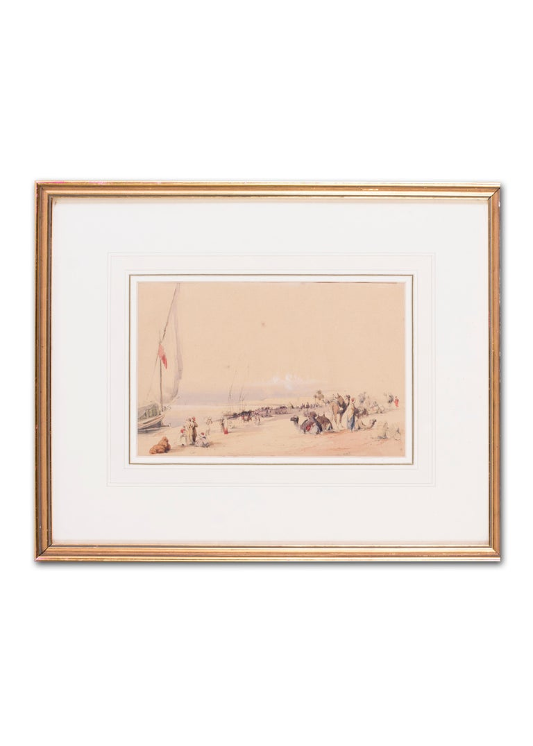 Mid 19th Century British watercolour of the Nile in Karnac, Luxor, Egypt For Sale 3