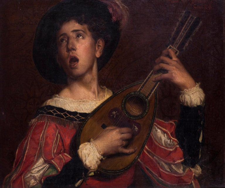 19th Century Belgian oil painting of The Lute Player by Van Biesbroeck 1