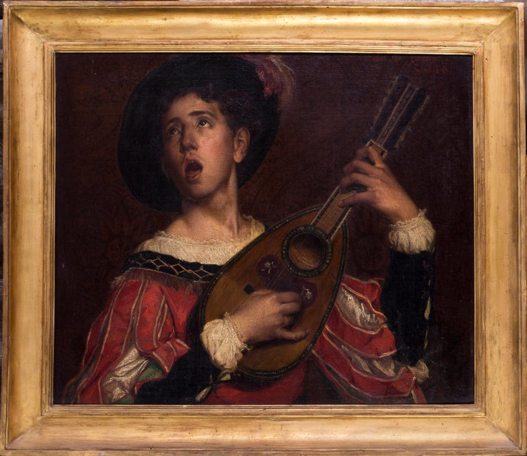 Jules Evarist Van Biesbroeck (Belgian, 1873-1965) The Lute player Oil on canvas Signed 'Julius Van Biesbroech / Ghent 1875' 26.3/4 x 31.1/2 in. (68 x 80.5 cm.)  In a very decorative gilded wood and composite frame, minor chips and repairs  Jules Van