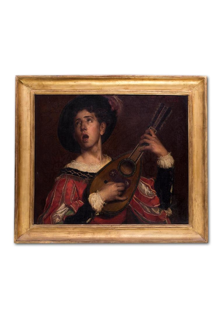19th Century Belgian oil painting of The Lute Player by Van Biesbroeck 9