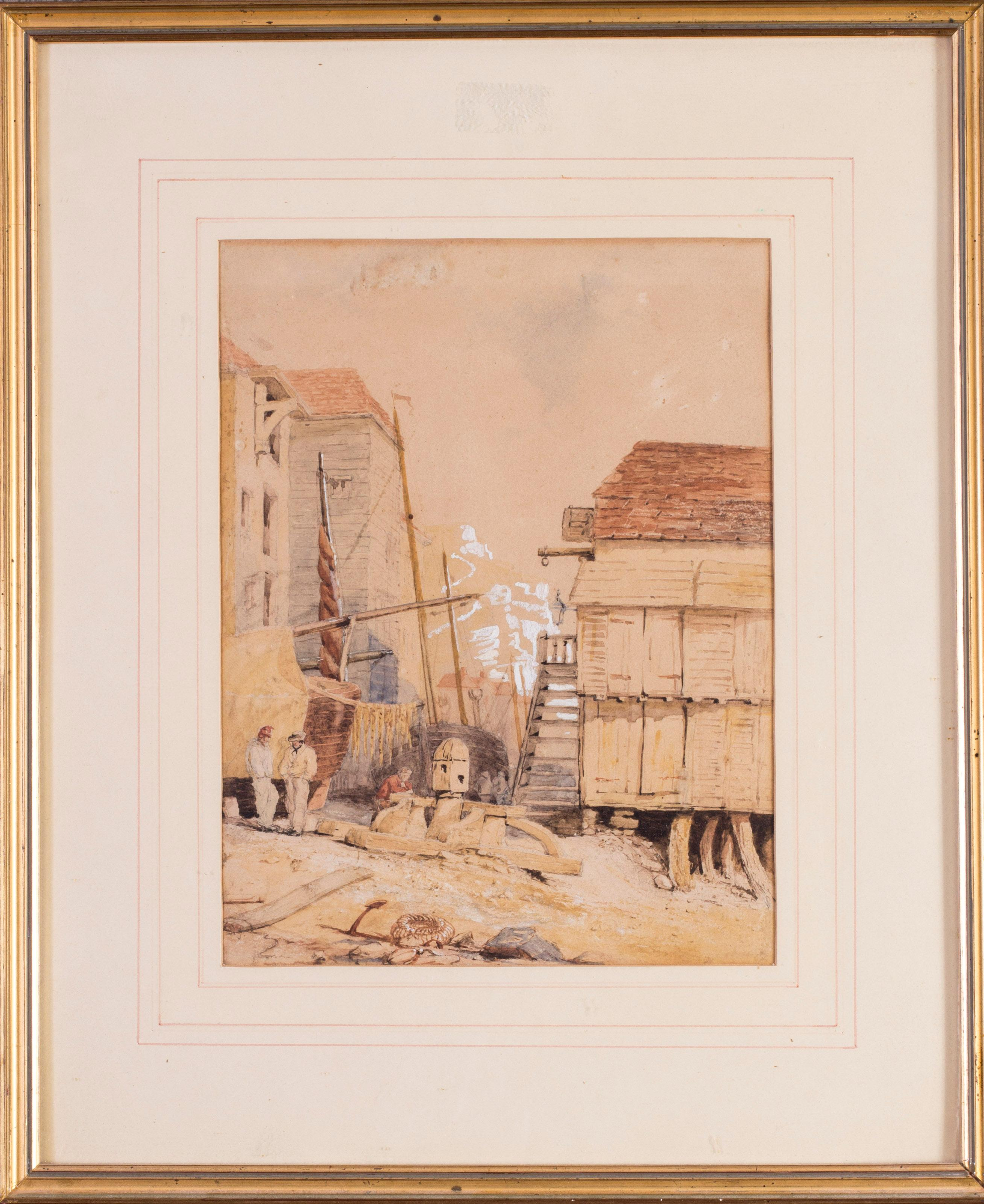 British, 19th Century watercolour of Hastings, on the coast in East Sussex