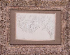 17th Century Italian Old Master drawing of three angels, a study for larger work