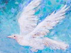 American, Contemporary oil painting of a white bird In flight