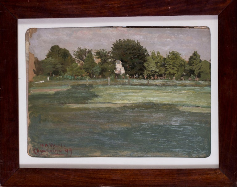 Newton Alonso Wells Landscape Painting - American, 19th Century oil sketch plain air, France