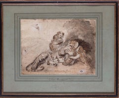 19th Century British drawing of a tiger, cubs and child attributed to Landseer