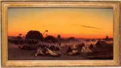 19th Century French Orientalist oil painting 'La Halte de la Caravane' by Frere