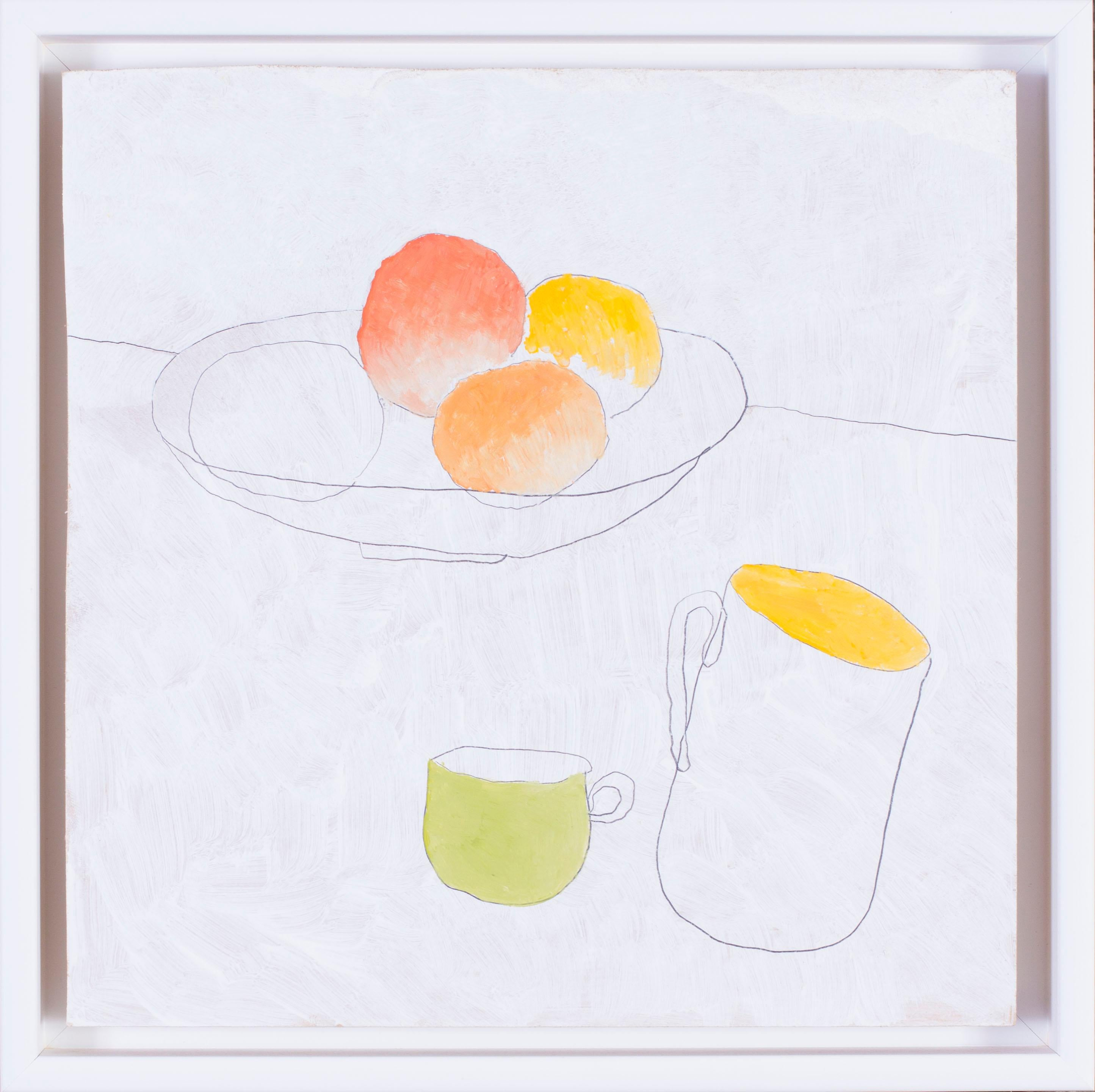 British, 21st Century abstract still life 'Fruit and cups'