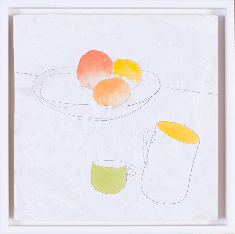 Max Andrews Still-Life Painting - British, 21st Century abstract still life 'Fruit and cups'
