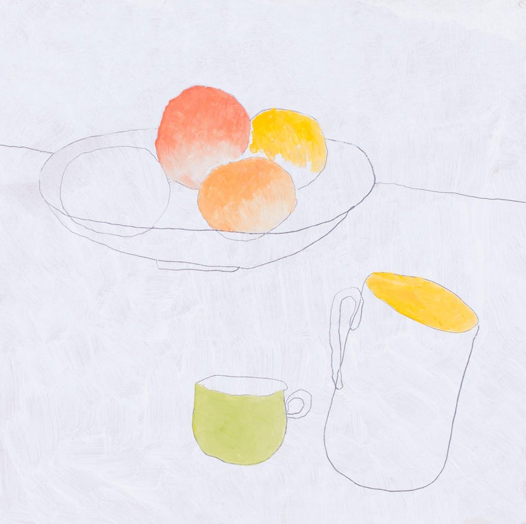 British, 21st Century abstract still life 'Fruit and cups' - Painting by Max Andrews