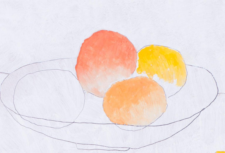 British, 21st Century abstract still life 'Fruit and cups' - Abstract Painting by Max Andrews