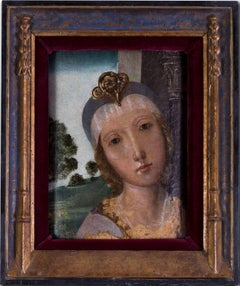 Italian Old Master portrait in the manner of Botticelli, oil on panel