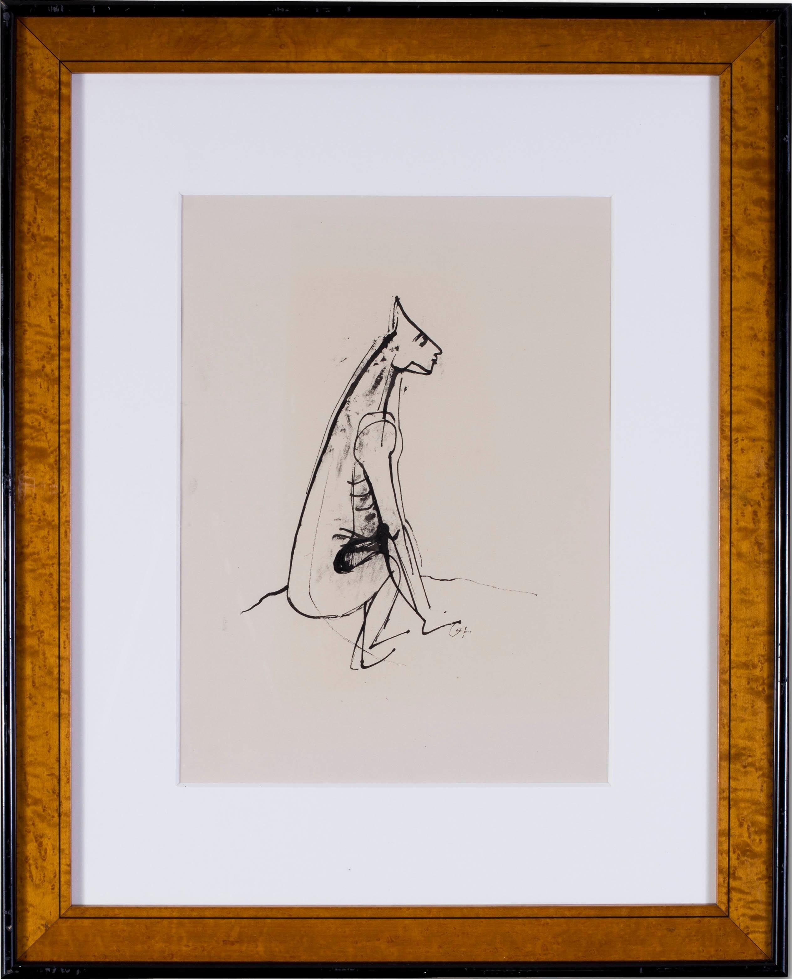 German Expressionist drawing of a half man, half dog by Carl Hofer