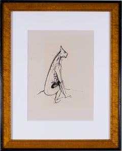 German Expressionist drawing of a half man, half dog by Carl Hofer