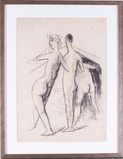 20th Century German Expressionist drawing of bathers by Carl Hofer