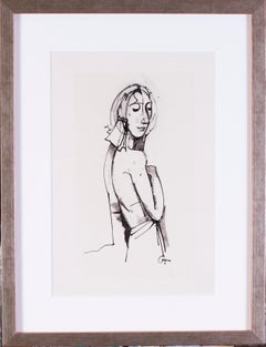 German Expressionist drawing by Carl Hofer of a bather
