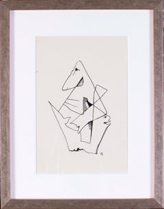 German Expressionist drawing of an abstracted form by Carl Hofer