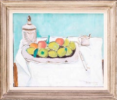 Mid 20th Century French still life oil painting of apples and pears