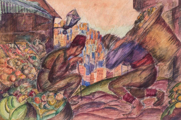 Russian, early 20th Century watercolour of Turkish fruit sellers - Art by Vladimir Pavlovich Nechoumoff