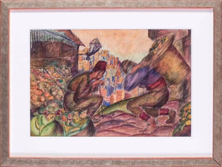Vladimir Pavlovich Nechoumoff Figurative Art - Russian, early 20th Century watercolour of Turkish fruit sellers