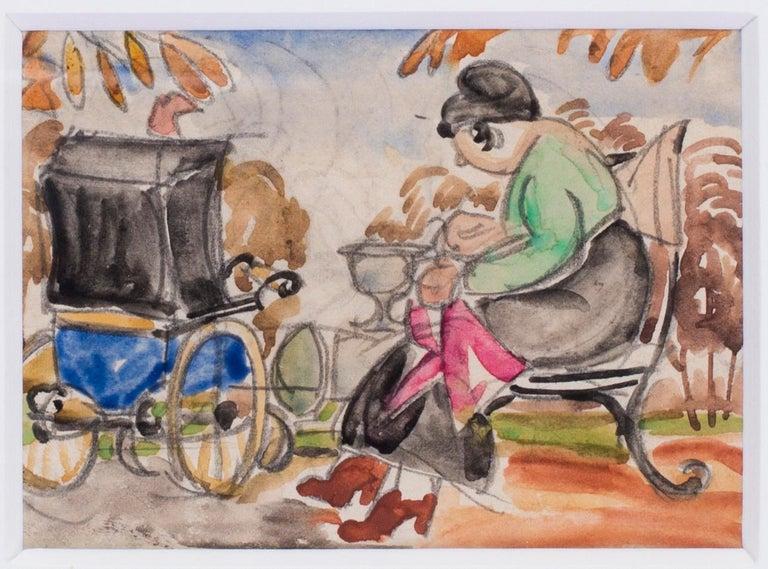 Russian, 20th Century Art Deco watercolour of a nanny in a park - Brown Figurative Art by Vladimir Pavlovich Nechoumoff