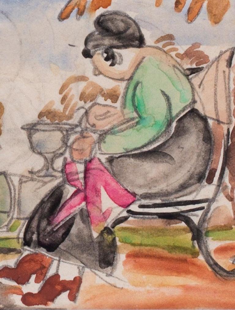 Vladimir Pavlovich Nechoumoff (Russian, c. 1900 – 1977) A nanny resting on a bench pencil and watercolour on paper 3 x 4.1/4 in. (7.7 x 11 cm.)  Figurative painter, illustrator Vladimir Pavlovich Nechoumoff studied at the Kharkov School of Fine