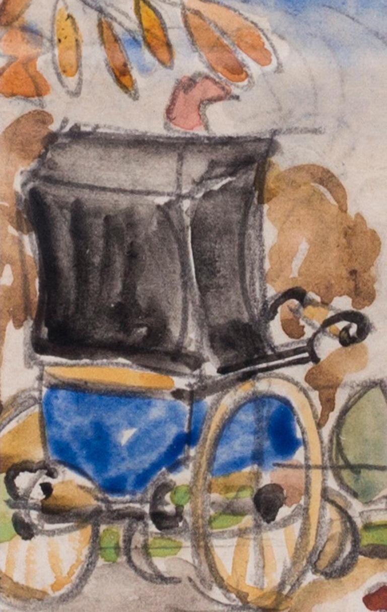 Russian, 20th Century Art Deco watercolour of a nanny in a park For Sale 1
