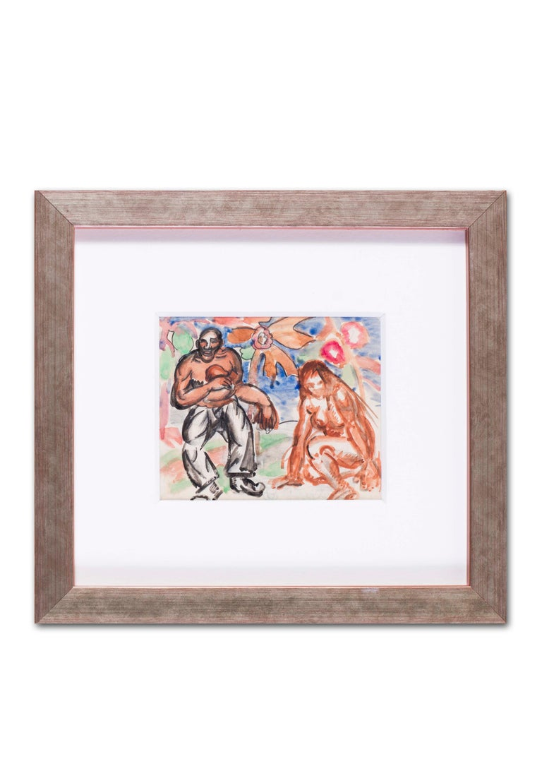 Vladimir Pavlovich Nechoumoff (Russian, c. 1900 – 1977) Famille e bebe pencil and watercolour on paper 3.3/4 x 4.5/8 in. (9.5 x 11.2 cm.)  It is possible that this is a scene influenced by his stay in Barbados  Figurative painter, illustrator