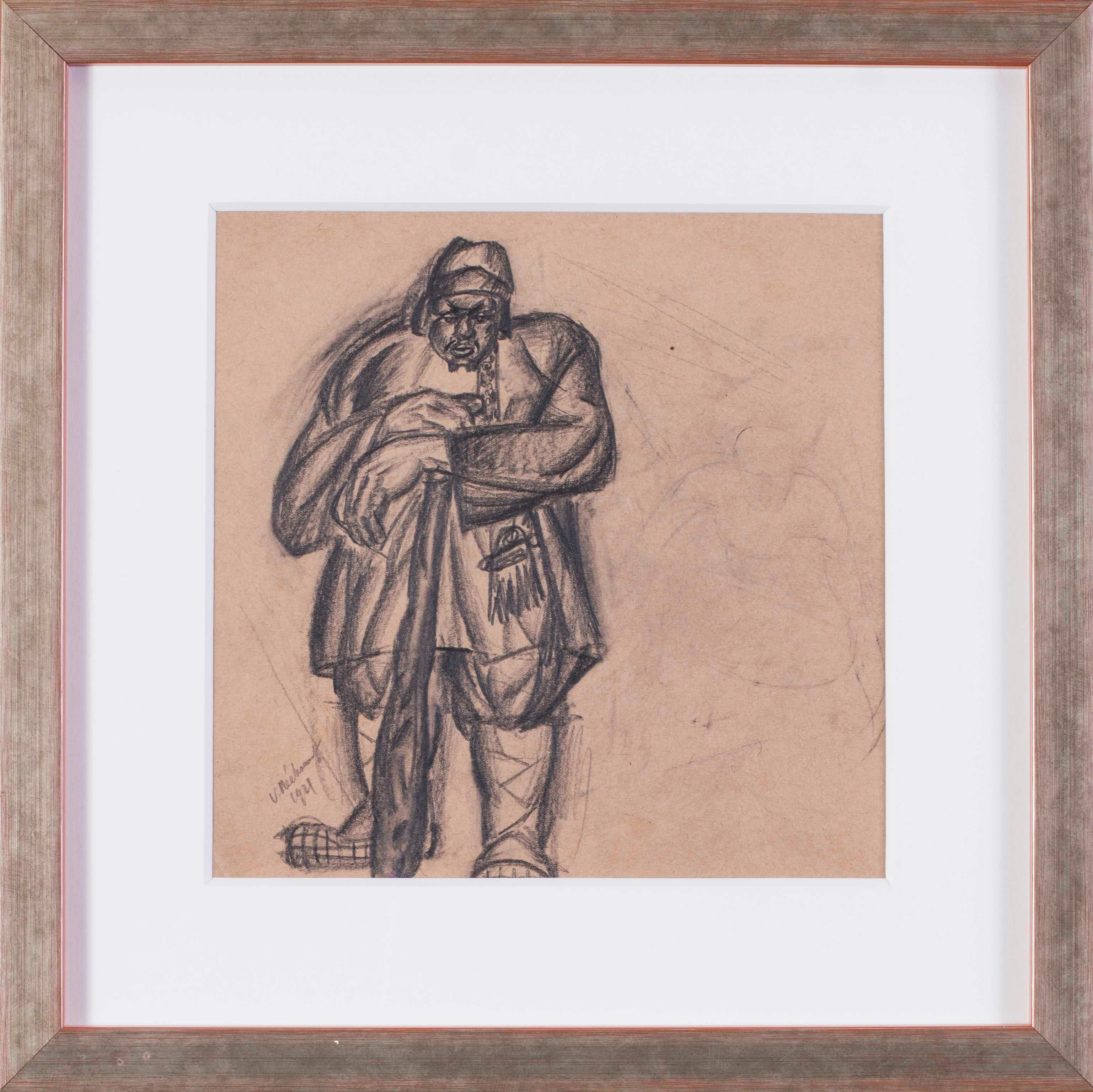 Russian, 20th Century Art deco drawing of a Turkish warrior