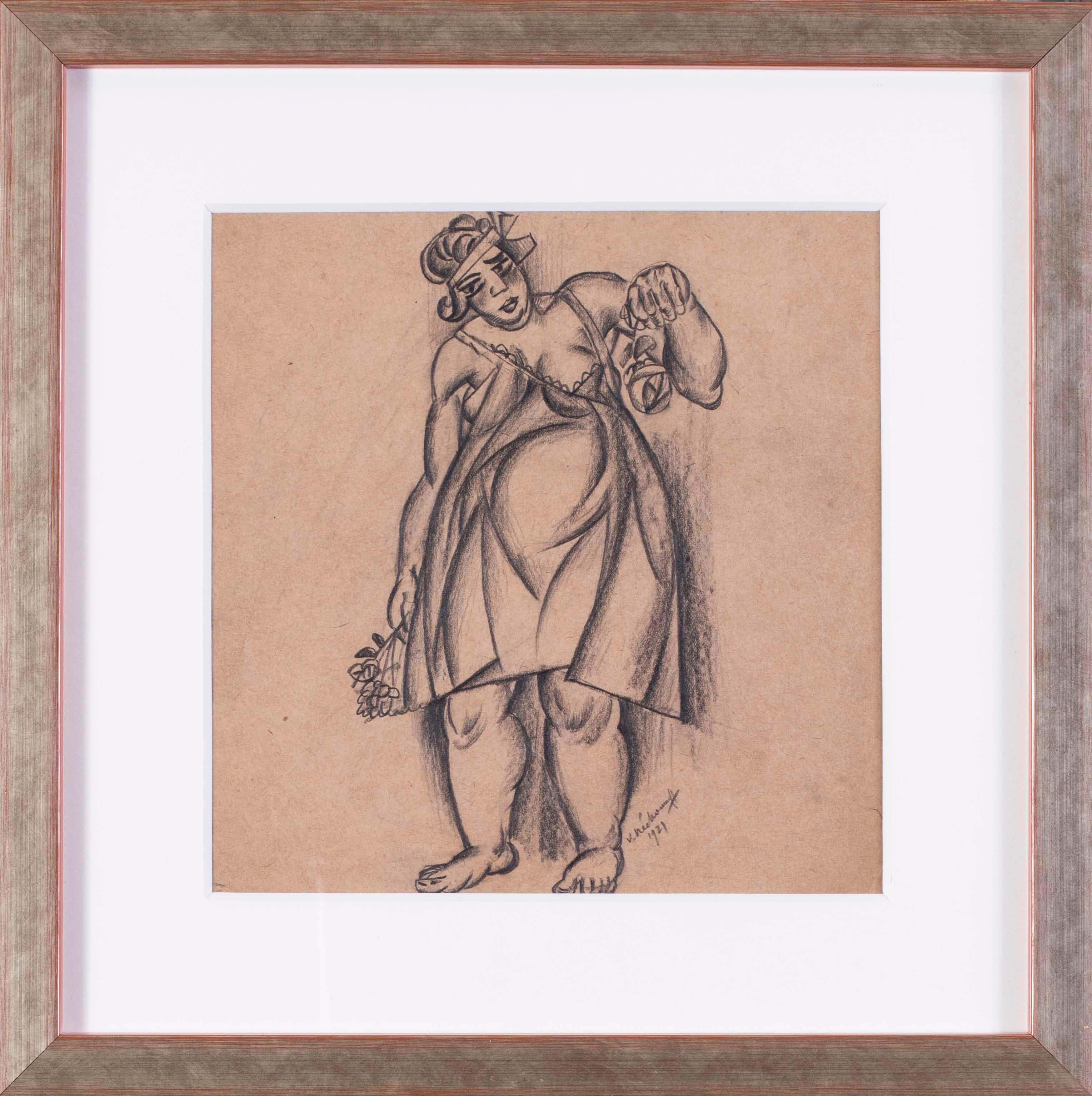 Russian, Art Deco drawing of a lady of springtime, early 20th Century