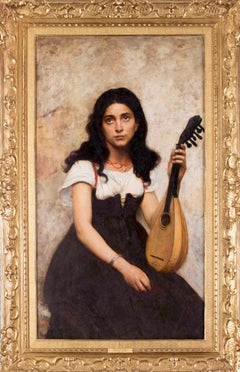 19th Century French oil painting of a young musician
