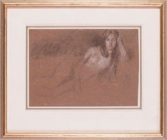 British, 19th Century drawing of a reclining nude by Edward Stott