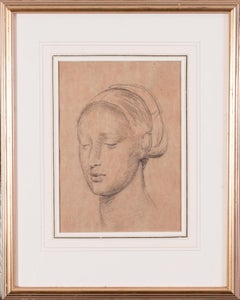 19th Century British drawing study of a young woman by Edward Stott